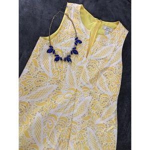 Yellow and White Lace Mini Dress